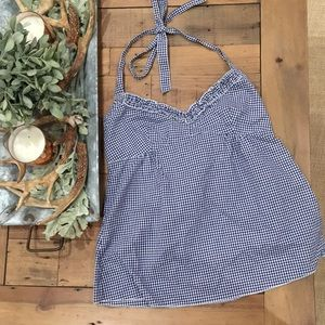 J. CREW GINGHAM HALTER TOP SIZE 2 blue and white